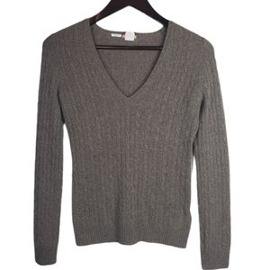 J.Crew cashmere Cable Knit Brown V-neck sweater XS